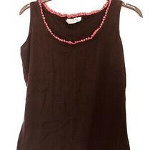 Avon Small Uk Size 6-8 Womens Black and Pink Detail Pyjama Vest Top 100% Cotton Photo