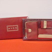 Avon Wallet Set.. Red/buff 3 Pc Boxed Gift Set - Wallet-Address Book-Lipstick Photo
