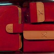 Avon Whip Stitched Spectator Boxed Red Wallet Purse Case Gift Set Photo