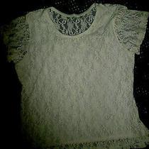 Avon White Nylon Stretch Lace Knit Short Sleeve Top Front Lined  Sz M Euc Photo
