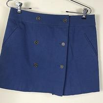 Avon Womens Blue 6 Button Front Wrap Skirt Lined Front Pockets Size 10-12 Nwot Photo