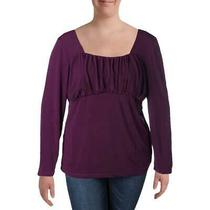 Avon Womens Purple Ruched Square Neck Knit Top Shirt Plus 2x Bhfo 3779 Photo