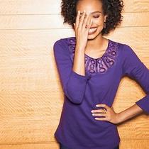 Avon Womens Soutache Detail Top Size Large Purple Christmas Gift Photo