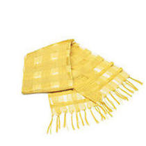 Avon Yellow Luxurious Silk Plaid Textured Scarf New Photo