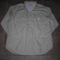 Awesome Columbia Pfg Beige Ls Button Up Vented Shirt Xl Fishing Gear Safari Photo