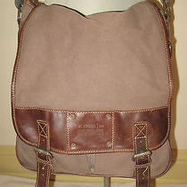 Awesome Fossil Women Men Brown Canvas & Leather Book Bag Crossbody Purse Perfect Photo