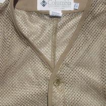 Awesome Lt Wt Mesh Fishing Vest Men Columbia Pfg Large L Ss Shirt Polo Photo