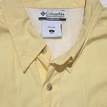 Awesome Lt Wt Vented Fishing Men Columbia Pfg Large L Ss Shirt Polo Photo