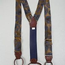 Awesome Modernist Pelican Suspenders Brass 100% Silk Fabric Croc Leather Photo
