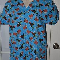 Awesome Reindeer Scrub Top Size Small Photo