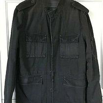 Ax Armani Exchange Black Denim Jean Fabric Sz Xl Sport Jacket Coat Epaulets  Photo