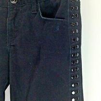 Ax Armani Exchange Jeans Womans 2 Black Skinny Stretch Denim 28x31 Beaded Sides Photo