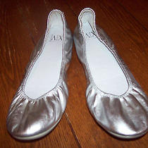 Ax Armani Exchange Women's Silver Leather Ballet Flats Us Size 10  Euc Photo