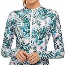Axesea Womens Rash Guard Long Sleeve One Piece Swimsuit Lush Blush Size 6 P8ts Photo