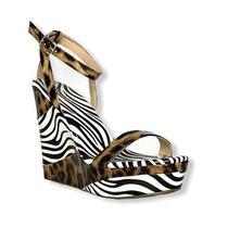 Azalea Wang Parker Animal Print Leopard/zebra Womens Sandals Wedge Size 8.5. Photo