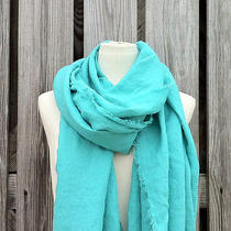 Azure Scarf - Long Caribbean Blue Scarf - Natural Eco Friendly Linen -  Handmade Photo