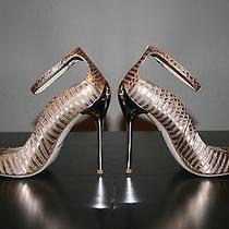 B Brian Atwood Leida Rosegold Reptile Peep-Toe Pump Us Size 8.5 Photo