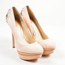 B Brian Atwood Nude Blush Suede Jeweled