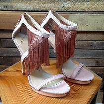 B Brian Atwood Size 8 Blush/pink Leather Fringe Heels Photo