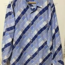 B by Brooklyn Express Size 3xl Dress Shirt Plaid Button Front Long Sleeve Blue Photo
