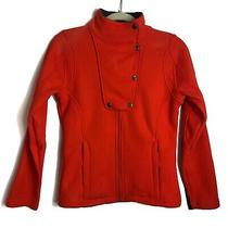 B by Burton Orange Sweater Full Zip Sweater Zipper Pockets Faux Suede Patches Xs Photo