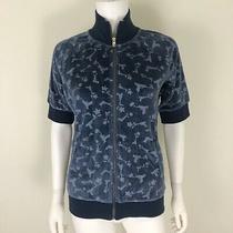 B by Burton Womens Size M Sweatshirt Ss Stray Bullet Zip Front Blue Nwt Velour  Photo