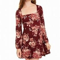 B. Darlin a-Line Dress Blush Red Size 9 /10 Junior Square-Neck Floral 49 020 Photo