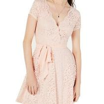 B. Darlin Blush Pink Size 5 Junior a-Line Dress Lace Surplice Belted 69 069 Photo