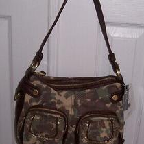 B. Makowski Camo Camouflage Leather Suede Olive Green Brown Hobo Shoulder Bag Photo