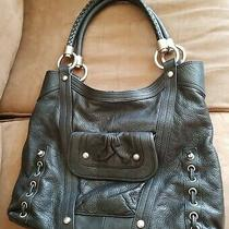 B. Makowsky Black Leather Hobo Shoulder Bag Purse  Photo