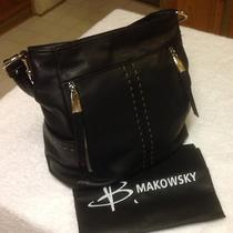 B. Makowsky Black Leather Laurel Hobo Purse Handbag  W/ Dust Bag & Detached Tags Photo