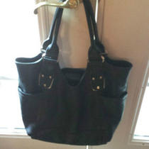 B. Makowsky Black Leather Tote Handbag Photo