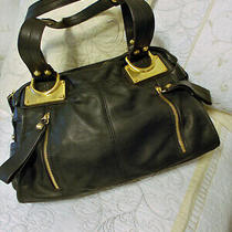 B. Makowsky Black  Pebble Leather Satchel Hobo Large Handbag - Dble Handles Photo