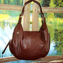 B.makowsky  Brandy Glove Leather Zip Top 228 Satchel W/stud Detail  New Photo