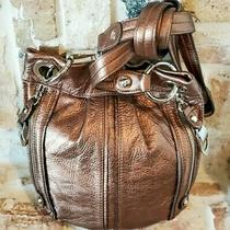 B. Makowsky Bronze Brown Leather Hobo Crossbody Bag Photo