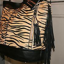 B Makowsky Calf Hair & Glove Leather Zebra Print Bucket Hobo With Fringe Nwt  Photo