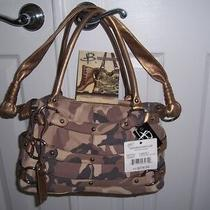 B. Makowsky Genuine Leather Brown Tan Camo Camouflage Hobo Crossbody Bag 278 Photo