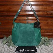 B. Makowsky Giamma Leather & Suede Hobo Bag With Hinge Hardware Emerald Photo