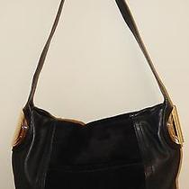 B.makowsky Giamma Leather & Suede Hobo Bag With Hinge Hardware in Black Photo