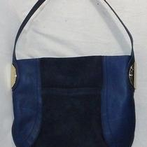 B.makowsky Giamma Leather & Suede Hobo Bag With Hinge Hardware Navy Blue Photo