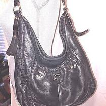 B Makowsky Glove Leather Black Hobo Bag-Excellent Condition Leopard Lining Photo