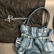 B Makowsky Hobo Handbag Large Blue Leather Shoulder Hobo Bag Purse Silver Accent Photo