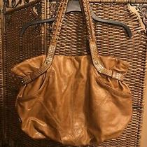 B. Makowsky Leather Brown Large Hobo Bag Brown Mustard  Silver Studs 260 Photo