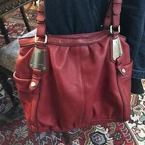 B Makowsky Red Leather Hobo Shoulder Handbag Purse Silver Pre-Owned Photo