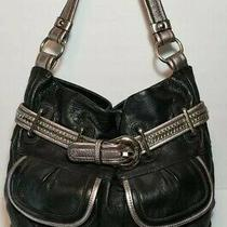 B. Makowsky Silver & Black Buckled Shoulder Handbag Leopard Lining Pocket Hobo Photo
