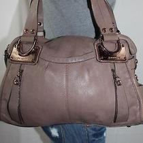 B. Makowsky Taupe Large Leather Shoulder Hobo Tote Satchel Slouch Purse Bag Photo