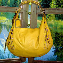 B.makowsky  Yellow  Glove Leather Zip Top 228 Satchel W/stud Detail  New Photo