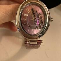 B Watch Faux Croc in Purple Silver Tone Trim New Photo