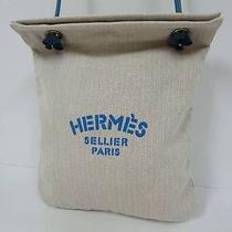 B0523 Authentic Hermes Aline Logos Shoulder Tote Cotton Hand Bag Beige Blue Photo