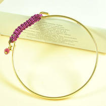 B169 Avon Goldtone & Purple Simple Bracelet Brand New in the Original Box Photo
